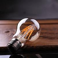 LED лампа Эдисона A-60  (6w) (AMBER) filament