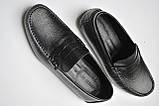 Мужские мокасины  Armani мужские туфли кожаные черные, фото 10
