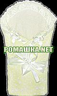 Ажурный весенний осенний конверт-одеяло на выписку 90х90  верх и подкладка хлопок 3062 Жёлтый