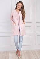 Розовый милый кардиган пальто на весну, материал жаккард косичкой S M L