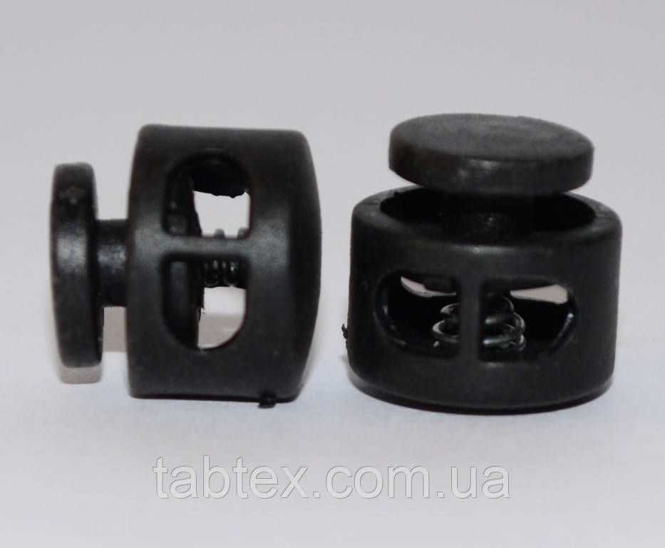 Фиксатор 2х дырочный черный(Мина) (1000 шт) пласт.под 3мм шнур