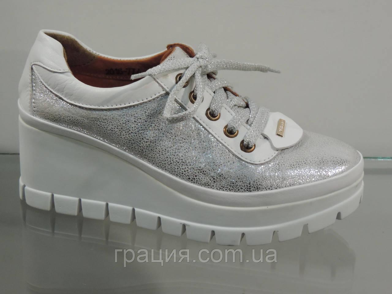 1ea7b03fd5d7 Туфли молодежные кожаные на платформе серебро: продажа, цена в Конотопе.  туфли ...