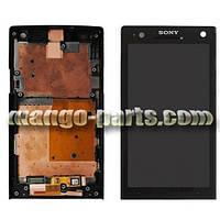 LCD Дисплей+сенсор  Sony  Xperia S LT26i  high copy черный с рамкой