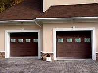 Ворота гаражные секционные Киев Коричневый