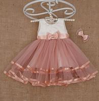 Платье праздничное Аленка Оленка с заколкой Атлас фатин размер 110-116 Бетис
