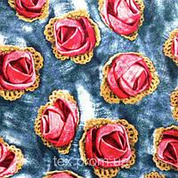 Трикотажное полотно кулирная гладь хлопок / эластан пенье, розы красные