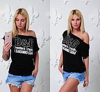 """Женская модная футболка-хулиганка """"D&G"""" (2 цвета), фото 1"""