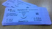 Шовный материал DemeQuick 3/0, 19 мм обратно-режущая игла 3/8 окружности, нить 75 см