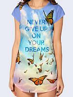 """Женская футболка-туника с ярким 3D рисунком """"Never dive up"""" для самых модных и креативных. Модель лето 2017."""