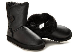 Детские угги UGG Australia (baby) Bailey button leather black