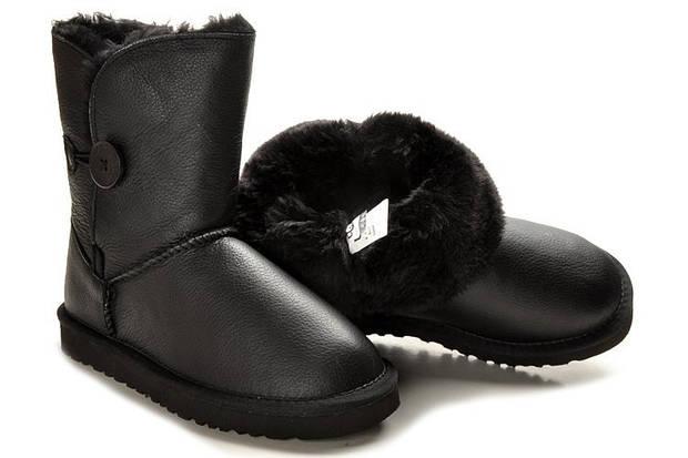 Детские угги UGG Australia (baby) Bailey button leather black