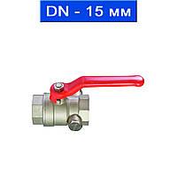"""Кран для спуска воды/воздуха шаровой муфтовый, Ду 15 (1/2"""")/ 3,0 МРа/ до 130 °С/ внутр. резьба/ никелир. латунь (арт. 2050-15)"""