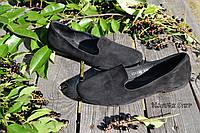 Стильные женские замшевые балетки лоферы, классика, материал натуральная замша, цвет черный