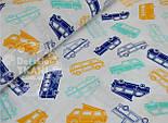 """Лоскут ткани №502 """"Автобусы"""", цвет синий, мятный и оранжевый, фото 2"""