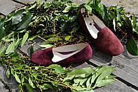 Стильные женские замшевые балетки, классика, материал сверху и внутри натуральная кожа, цвет бордо 38