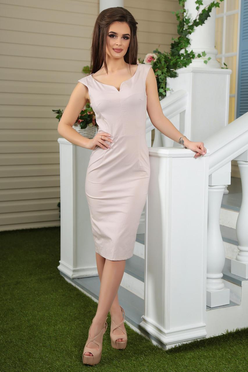 Женское  приталенное платье ниже колена