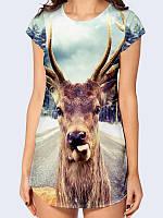 """Женская футболка-туника """"Олень с языком"""" с прикольным рисунком из летней легкой ткани, от 42 по 50 р. S(44)"""