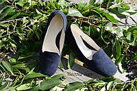 Стильные женские замшевые балетки лоферы, классика, материал натуральная замша, цвет синий
