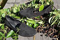 Стильные женские замшевые балетки лоферы, классика, материал натуральная замша, цвет черный 36