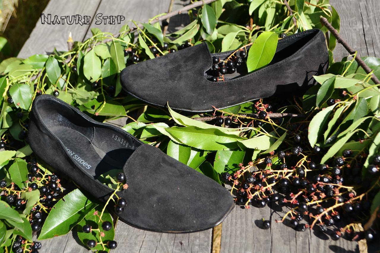 Стильные женские замшевые балетки лоферы, классика, материал натуральная замша, цвет черный 36 - Nature Step в Киеве