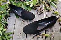 Стильные женские замшевые балетки лоферы, классика, материал натуральная замша, цвет черный 40