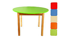 Стол деревянный  цветной салатовый c круглой столешницой