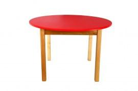 Стол деревянный  цветной красный c круглой столешницой