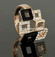 Яркое кольцо с кристаллами Swarovski, покрытое слоями золота (102301)