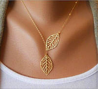 Модное Ожерелье Листики из серебра 925 пробы в позолоте 999.9