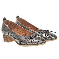 Туфли женские Vikttorio (серебристый цвет, удобный каблук, перфорация, модные, удобные)