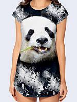 Креативная женская туника Панда гранж с ярким фото принтом милого мишки.