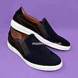 Мужские туфли-мокасины из натуральной замши коричневого и синего цветов, на плоской подошве белого цвета, фото 2