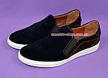 Мужские туфли-мокасины из натуральной замши коричневого и синего цветов, на плоской подошве белого цвета, фото 3