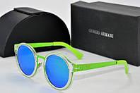 Солнцезащитные очки круглые Armani салатовые