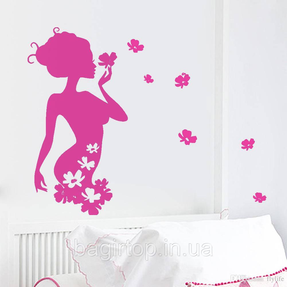 Виниловая наклейка- Девушка(цветы)