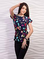 Легкая блуза темно-синего цвета из креп шифона