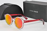 Солнцезащитные очки круглые Armani в красной оправе
