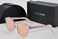 Солнцезащитные очки круглые Armani нежно розовые