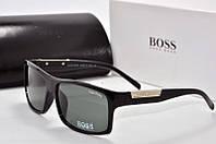 Солнцезащитные очки прямоугольные Hugo Boss стекло черные
