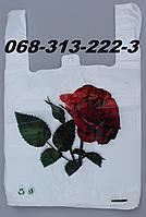 """""""Роза"""" 30х50см полиэтиленовые пакеты майка первичка с рисунком оптом от производителя"""