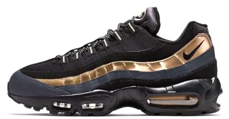 Кроссовки мужские Nike Air Max 95 Black/Gold, Найк Аир Макс 95