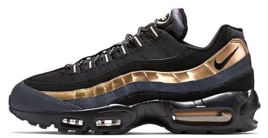 Кроссовки мужские Nike Air Max 95 Black/Gold, Найк Аир Макс 95, реплика