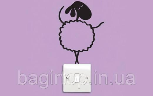Виниловая наклейка на выключатель - (Овечка)