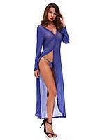 Сексуальный женский длинный синий пеньюар с трусиками