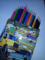 """Карандаши дерево цветные """"Машина"""" 18 цв., в картоне, европодвес 7303-18B"""