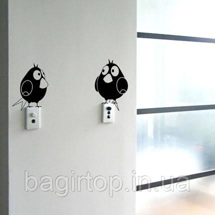 Виниловая наклейка на выключатель - (Птички )