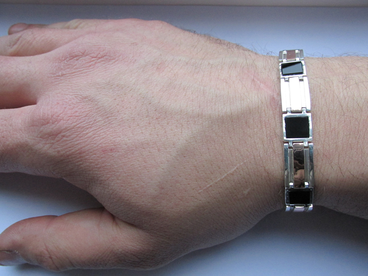 Мужской браслет серебряный з золотими пластинами