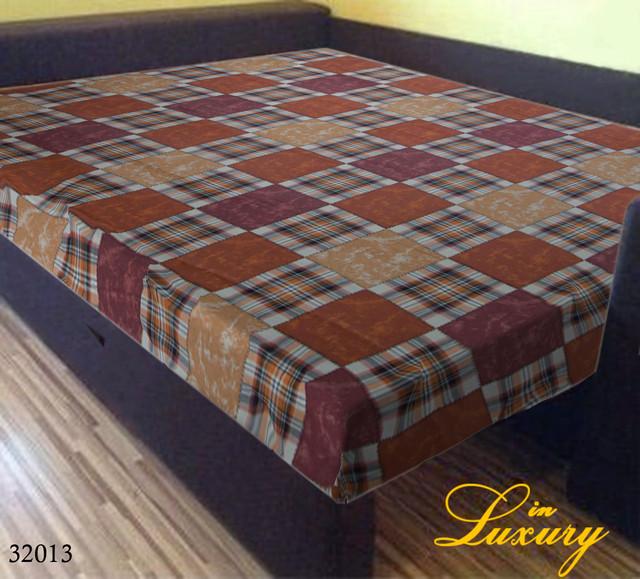 Простынь на резинке 140х200 см «Шотландка оранжево-коричневая» in Luxury™ арт.32013
