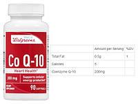 Walgreens, Коэнзим Q10, 200 мг, 90 капсул