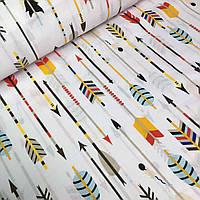 Польский хлопок, детская ткань стрелы индейца на белом фоне №578